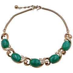 Vintage Trifari Green Necklace With Rhinestones 1950's