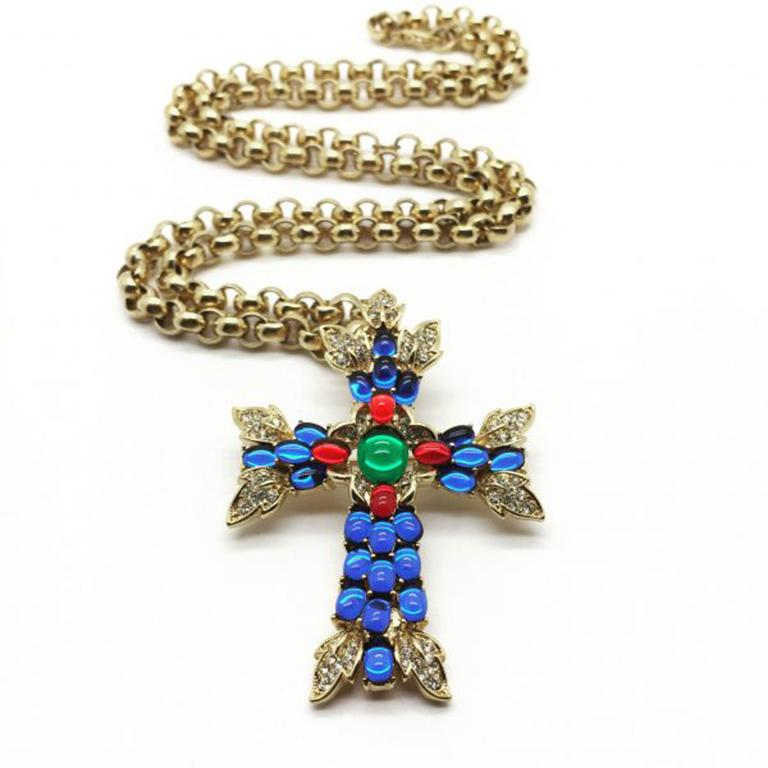 Vintage Trifari Necklace & Brooch Moghul Style Cross With Gilt Chain 1990s For Sale 2