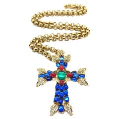 Vintage Trifari Necklace & Brooch Moghul Style Cross With Gilt Chain 1990s
