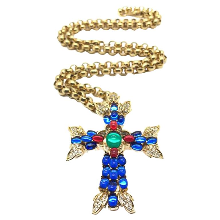Vintage Trifari Necklace & Brooch Moghul Style Cross With Gilt Chain 1990s For Sale