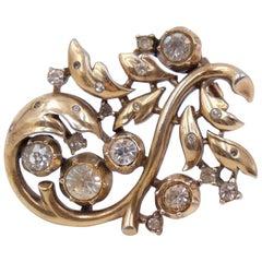 TRIFARI Crown \u2013 Leaf brooch solid base metal with rhodium plating retro style prior to 1955
