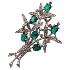 Vintage Trifari Sterling Brooch Faux Emeralds