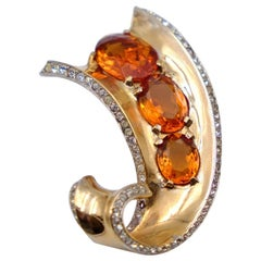 Vintage Trifari Sterling Brooch With Amber Crystals 1940's