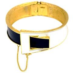 Vintage Trifari White & Black Enamel Gold Tone Hinged Clamper Bracelet