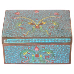 Vintage Trinket Metal Box with Hand Painted Enamel Asian Design