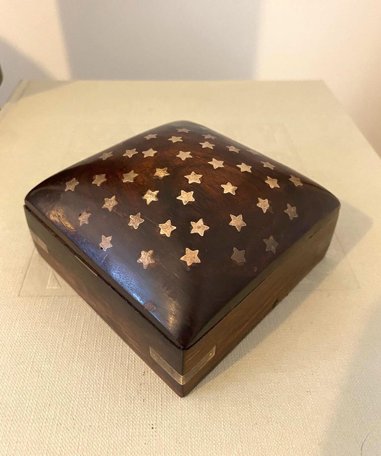 Vintage Trinket Rosewood Box with Brass Star Inlays, Denmark, c. 1960's For Sale 3