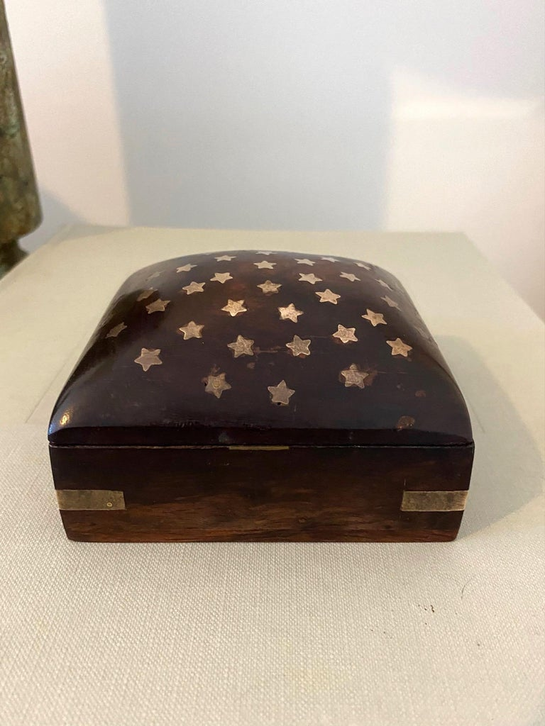 Mid-Century Modern Vintage Trinket Rosewood Box with Brass Star Inlays, Denmark, c. 1960's For Sale