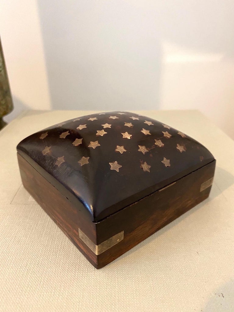 Danish Vintage Trinket Rosewood Box with Brass Star Inlays, Denmark, c. 1960's For Sale