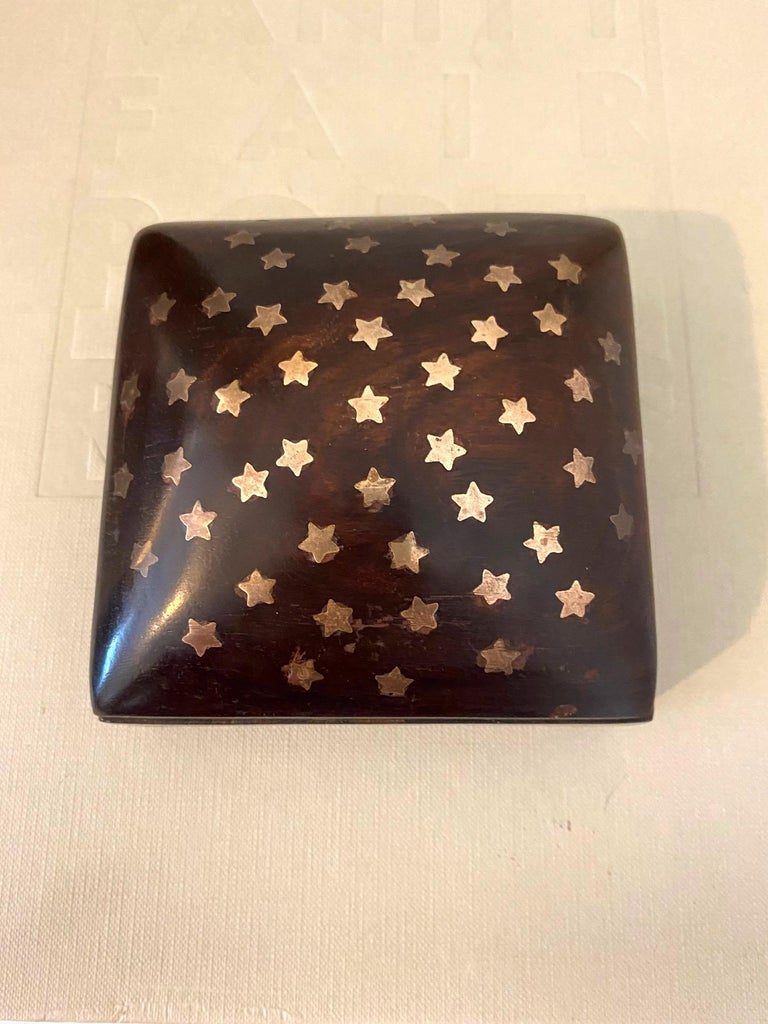 Hand-Carved Vintage Trinket Rosewood Box with Brass Star Inlays, Denmark, c. 1960's For Sale
