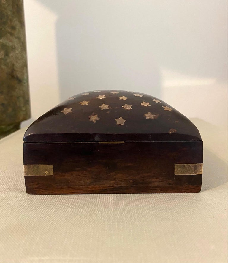 Vintage Trinket Rosewood Box with Brass Star Inlays, Denmark, c. 1960's For Sale 1