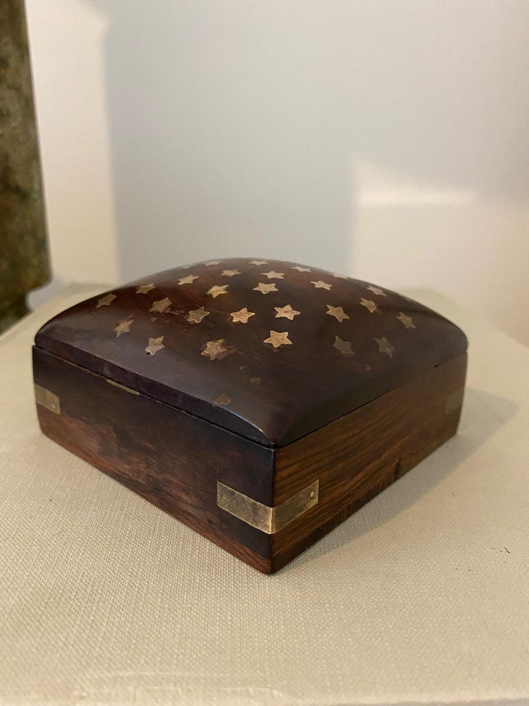 Vintage Trinket Rosewood Box with Brass Star Inlays, Denmark, c. 1960's For Sale 2