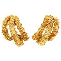 Vintage Triple Branch Clip-On Earrings circa 1960 in 18 Karat