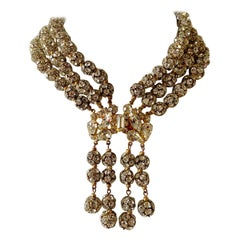 "Vintage Triple Strand Rondelle Diamante Gilt Statement ""Collier"" Necklace"