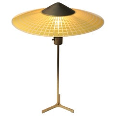 Vintage Tripod Table Lamp in Brass and Checkered Glass, Swiss, circa 1960s