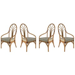Vintage Tropical Bent Rattan Dining Armchairs/Chairs, Set of 4