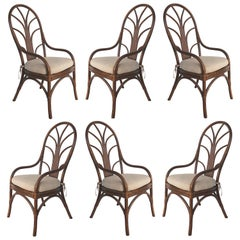 Vintage Tropical Bent Rattan Dining Chairs, Set of 6