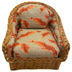 Vintage Tropical Leaf Palm Beach Braided Wicker Arm Lounge Chair by Wicker Works