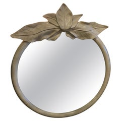 Vintage Tropical Palm Beach Leaf Leaves Round Wall Mirror