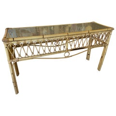 Vintage Tropical Palm Beach Rattan Console Sofa Table Glass Top