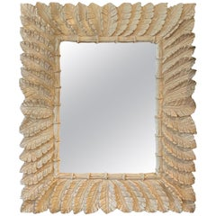 Vintage Tropical Palm Tree Leaf Leaves Faux Bamboo Wall Mirror