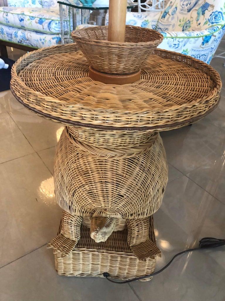 Vintage Tropical Wicker Turtle Side End Table Floor Lamp At 1stdibs