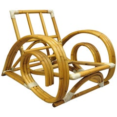 Vintage Tropitan Paul Frankl Style Bamboo Rattan Pretzel Club Lounge Chair