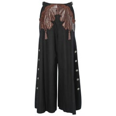 Vintage trousers in black wool and brown leather Christian Dior