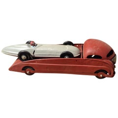 Vintage Truck with Racecar Toy