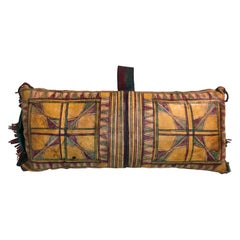 Vintage Tuareg Naturally Dyed Leather Camel Saddle Pillow, Morocco, Africa