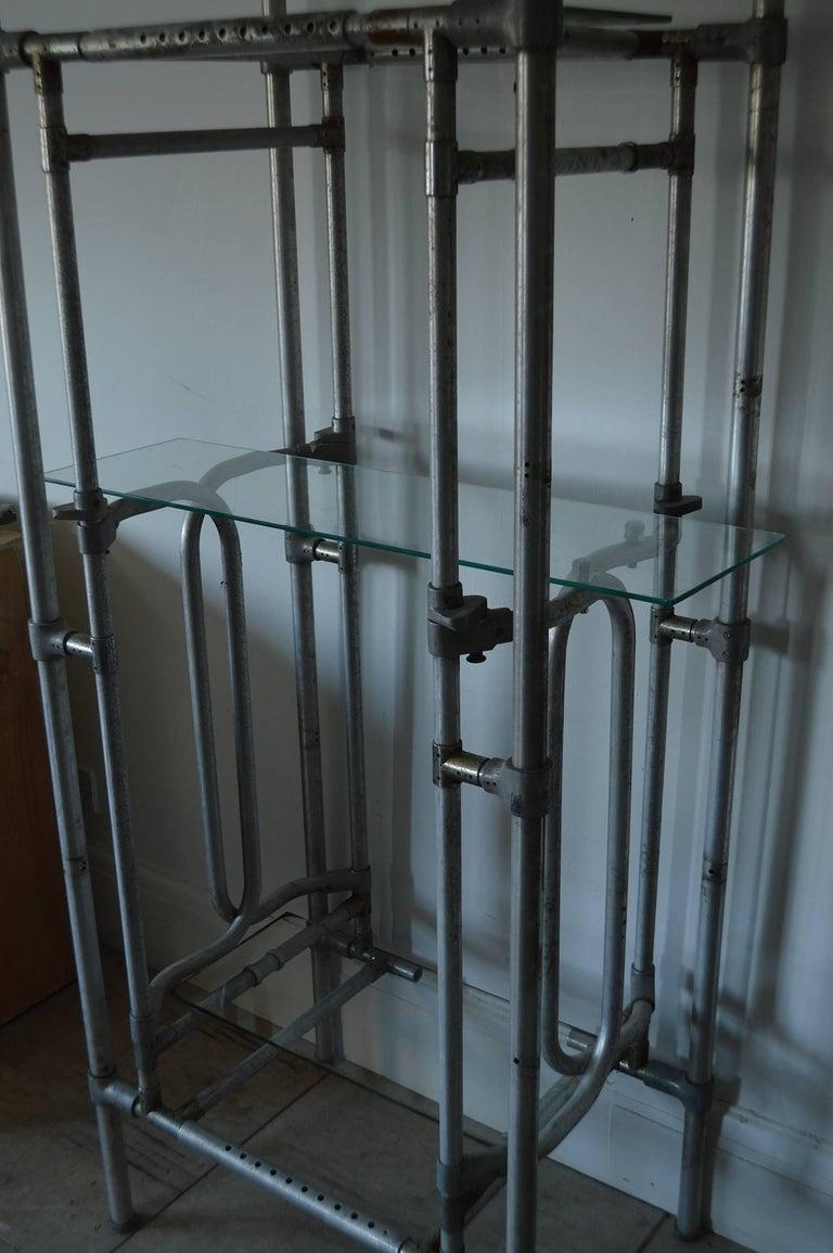 Machine-Made Vintage Tubular Aluminum Industrial Shelving or Étagère For Sale