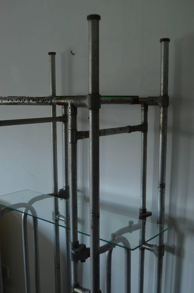 Vintage Tubular Aluminum Industrial Shelving or Étagère In Good Condition For Sale In St Annes, Lancashire
