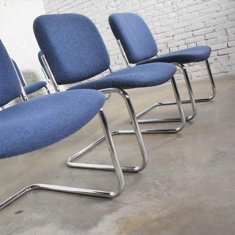 Vintage Tubular Chrome and Blue Fabric Cantilever Lounge Chair Armless Slipper 7 For Sale 6