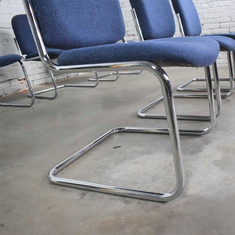 Vintage Tubular Chrome and Blue Fabric Cantilever Lounge Chair Armless Slipper 7 For Sale 7
