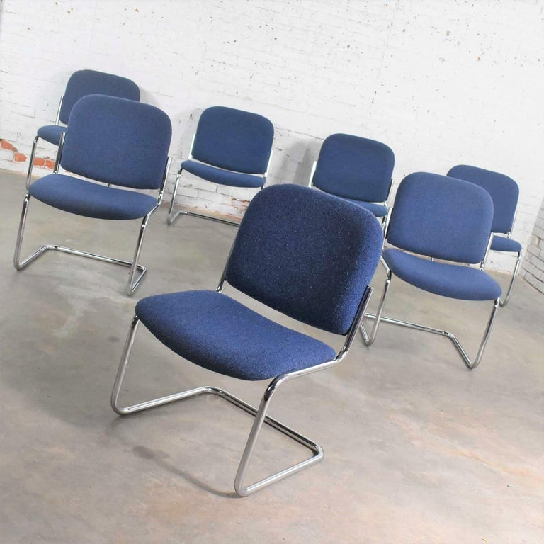 Awesome vintage cantilever tubular chrome and blue hopsack fabric upholstered lounge chairs in a slipper style without arms. They are in the manner of Thonet, the Cesca chair, and many other tubular chrome cantilevered chairs of the Bauhaus era.