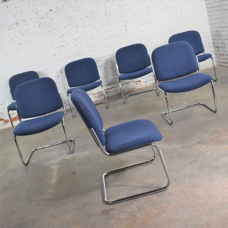 Bauhaus Vintage Tubular Chrome and Blue Fabric Cantilever Lounge Chair Armless Slipper 7 For Sale