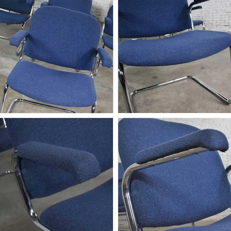 Tubular Chrome and Blue Fabric Cantilever Lounge Chair with Arms 7 Available For Sale 5