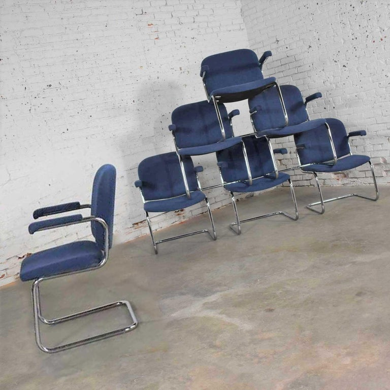American Tubular Chrome and Blue Fabric Cantilever Lounge Chair with Arms 7 Available For Sale