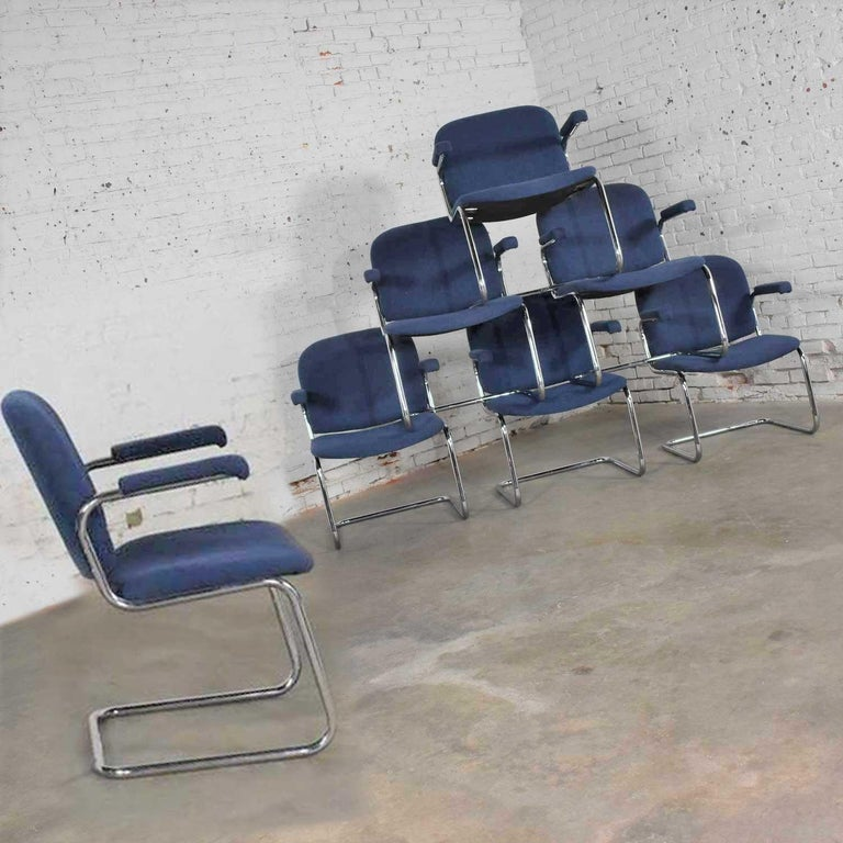 Tubular Chrome and Blue Fabric Cantilever Lounge Chair with Arms 7 Available In Good Condition For Sale In Topeka, KS