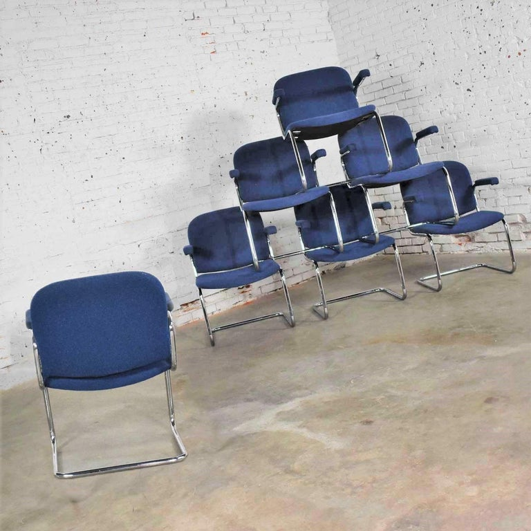 Tubular Chrome and Blue Fabric Cantilever Lounge Chair with Arms 7 Available For Sale 1