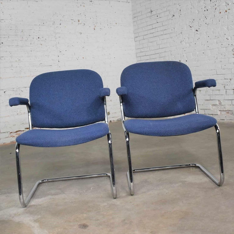 Tubular Chrome and Blue Fabric Cantilever Lounge Chair with Arms 7 Available For Sale 2