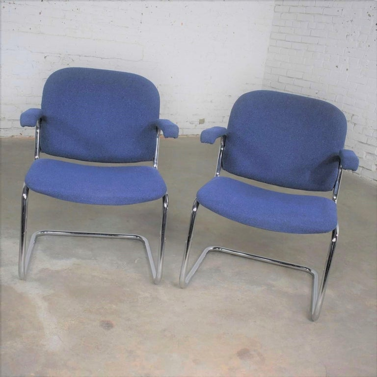 Tubular Chrome and Blue Fabric Cantilever Lounge Chair with Arms 7 Available For Sale 3