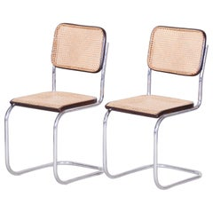 Vintage Tubular Chrome Ratan Bauhaus Pair of Chairs by Marcel Breuer, 1930s