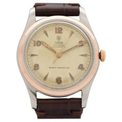 Vintage Tudor Oyster 14 Karat Rose Gold and Stainless Steel Watch, 1964