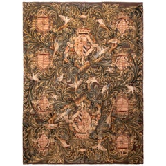 Vintage Tudor Transitional Green and Cream Wool Rug