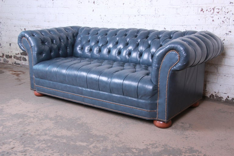 American Vintage Tufted Blue Leather Chesterfield Sofa For Sale