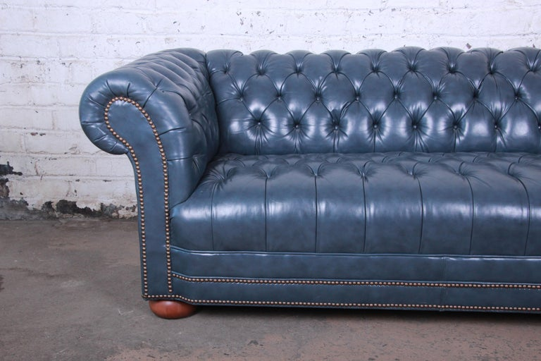 Vintage Tufted Blue Leather Chesterfield Sofa For Sale at 1stdibs