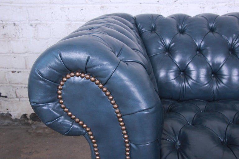 Brass Vintage Tufted Blue Leather Chesterfield Sofa For Sale