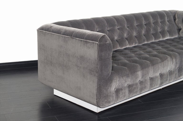Mid-Century Modern Vintage Tufted Chrome Sofa by George Kasparian For Sale