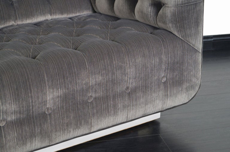 American Vintage Tufted Chrome Sofa by George Kasparian For Sale