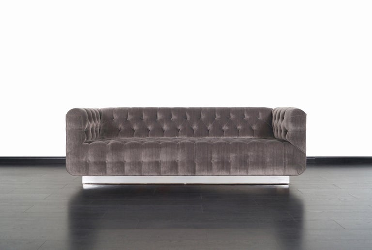 Vintage Tufted Chrome Sofa by George Kasparian In Excellent Condition For Sale In Burbank, CA